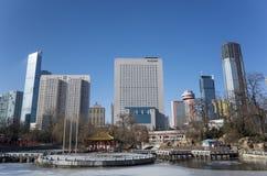 Dalian pejzaż miejski w zimie Fotografia Royalty Free