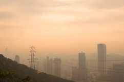 Dalian sunrise view from Fuguo hill with city skyline in the morning Stock Photography