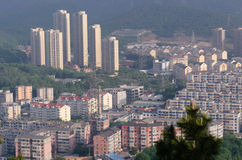 Dalian sunrise view from Taishan hill with city buildings Royalty Free Stock Photography