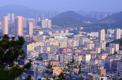 Dalian sunrise view from Taishan hill with city skyline in the Stock Images