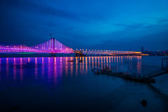 Dalian Xinghai Bay Bridge night. Eastphoto, tukuchina,  Dalian Xinghai Bay Bridge night Royalty Free Stock Image