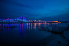 Dalian Xinghai Bay Bridge night. Eastphoto, tukuchina,  Dalian Xinghai Bay Bridge night Stock Photo