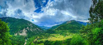 Dalin with houses and a river in the mountains stock photos