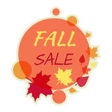 Daling Autumn Sale Round Banner Isolated Royalty-vrije Stock Foto's