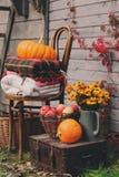 Daling bij buitenhuis Seizoengebonden decoratie met pompoenen, verse appelen en bloemen Stock Afbeelding