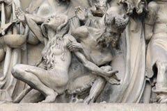 Daling in Hel - detail van het beeldhouwwerk van het Laatste Oordeel royalty-vrije stock fotografie