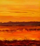 Daling op meer, die door olie op canvas schilderen Royalty-vrije Stock Foto's