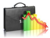 Daling van het concept van de effectenbeursportefeuille Aktentas en grafiek i Stock Foto