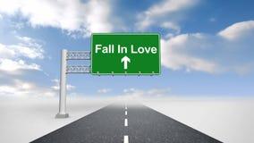 Daling van liefdeteken over open weg vector illustratie