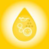 Daling van olie die op gele achtergrond wordt geïsoleerd Vector illustratie Stock Illustratie