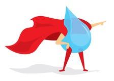 Daling van water super held met kaap stock illustratie