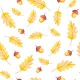 Daling Vibes Eikel en geel blad naadloos patroon stock foto's