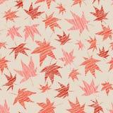 Dalingsachtergrond met gekraste esdoornbladeren Naadloos patroon Stock Afbeeldingen