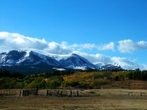 Dalingsbergen met Corral en Paarden royalty-vrije stock afbeeldingen