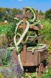 Dalingsdecoratie: oude die kar met oneven groene pompoenen wordt ineengestrengeld Stock Fotografie