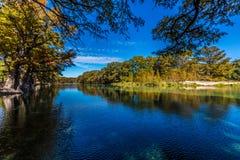 Dalingsgebladerte op een Dalingsdag die de Frio-Rivier, Texas omringen stock foto