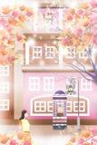 Dalingsgebladerte van landschap van de binnenstad en het straten - Grafische het schilderen textuur Stock Afbeelding