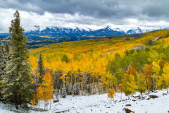 Dalingskleur en Sneeuw in Colorado royalty-vrije stock afbeeldingen