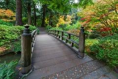 Dalingskleuren door de Voetbrug in Japanse Tuin Stock Afbeelding
