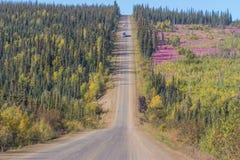 Dalingskleuren langs de weg van Dalton aan Prudhoe-baai in Alaska stock foto's