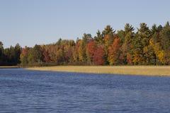 Dalingskleuren op de Rivier van Wisconsin stock foto