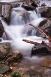 Dalingslandschap in bos met zijdeachtige satijn zachte rivier die in lange blootstelling stromen Royalty-vrije Stock Afbeelding