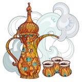 Dalla árabe del fabricante de café con las tazas stock de ilustración