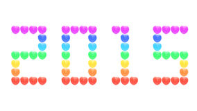 2015 dalla caramella del cuore dell'arcobaleno isolata su bianco Fotografie Stock