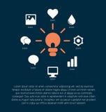 Dalla lampada nel centro partono i raggi all'icona differente (aree illustrazione vettoriale