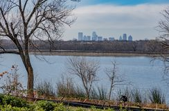 Dallas Arbitorium and Botanic Garden in Winter. Showing the Dallas City Skyline beyond the waters of White Rock Lake royalty free stock image