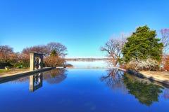 Dallas Arboretum and Botanical Gardens. With blue sky, reflection lake royalty free stock image