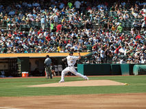 Dallas Braden throws pitch from mound Stock Photo