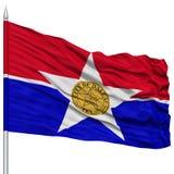 Dallas City Flag sur le mât de drapeau, Etats-Unis Photos stock