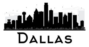 Dallas City-horizon zwart-wit silhouet stock illustratie