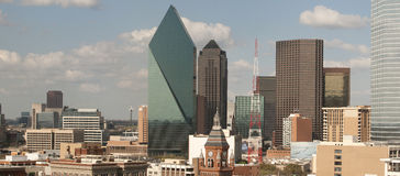 Dallas city skyline. Buildings and skyline of downtown, Dallas, Texas. Wide angle panorama royalty free stock photo