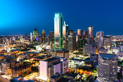 Dallas City Skyline. Aerial view of Dallas, Texas city skyline at night royalty free stock photos
