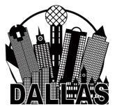 Dallas City Skyline Black ed illustrazione bianca di vettore del cerchio Immagine Stock Libera da Diritti