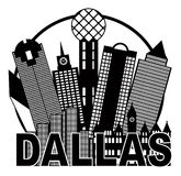 Dallas City Skyline Black y ejemplo blanco del vector del círculo Imagen de archivo libre de regalías