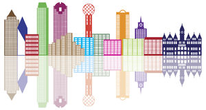 Dallas City Skyline Color Outline Vectorillustrat royalty-vrije illustratie