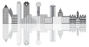 Dallas City Skyline Grayscale Illustration Fotografia Stock Libera da Diritti