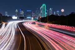 Dallas City Skyline at Night Royalty Free Stock Images