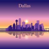 Dallas city skyline silhouette background Stock Photo