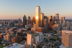 Dallas City Skyline Sunset Foto de Stock Royalty Free