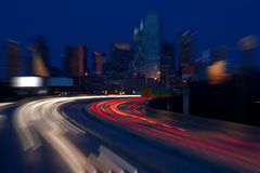 Dallas Commute. Traffic commute above I-30 to Dallas Texas. Long Exposure with Radial Zoom Royalty Free Stock Image
