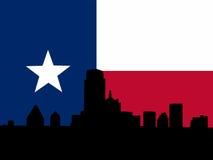 Dallas con la bandierina del Texan Fotografie Stock Libere da Diritti