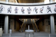 Dallas cowboys famous players pictures on the wall. In Frisco, TX USA Royalty Free Stock Image