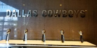 Lombardi Trophies Dallas Cowboys. Dallas cowboys memorabilia lombardi trophies superbowl champions star frisco royalty free stock images