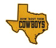 Dallas Cowboys Texas State Outline Tin Sign Street The Lone Star State stock illustration