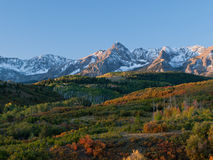 Dallas Divide in Autumn. The Dallas Divide is a Colorado icon, well known for its vivid fall colors produced by scrub oak and aspens stock photo