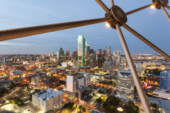 Dallas Downtown at night. View over the Dallas downtown district illuminated at night. Texas, United States Stock Images